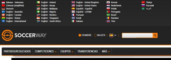 Soccerway screenshot